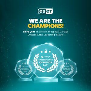"""ESET, 2021 Canalys Küresel Siber Güvenlik Liderliği Matrisi'ndeki """"Şampiyonluğunu"""" perçinliyor"""